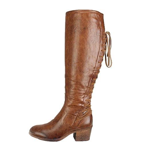 meilleur service 589b5 ff585 Bottes éQuitation Cuir Ankle Boots Femme Talon Compensé Bottines à Lacets  Chaussure Femmes Talon Sexy Hiver Zippé