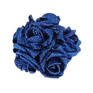 Dds5391 New 12Pcs Artificial Foam Roses Flower Heads Glitter Powder Bouquet Wedding Decor - White 55