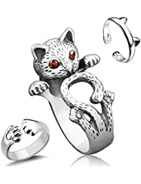 3 Pieces Sterling Silver Cat Rings, Kitty's Paw Ear Ring Set