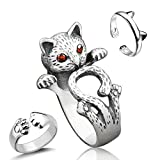 Sharkleap 3 Pieces Sterling Silver Cat Rings, Kitty's Paw Ear Ring Set