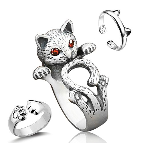 Sharkleap 3 Pieces Sterling Silver Cat Rings, Kitty's Paw Ear Ring Set for $<!--$9.99-->