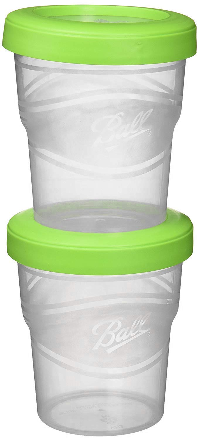 4-Count Ball Plastic Pint Freezer Jars with Snap-On Lids 16-Ounces