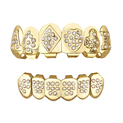 Gold Grillz Poker Iced Out Set Diamond 24K Plated Gold Grill Top & Bottom Teeth Caps Set Gag Gift For Son + Extra Molding Bars + Microfiber Cloth ()