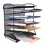 CRUODA Desktop Document Letter Tray Organizer 6 Trays Black Mesh Metal Office Desk Shelf, for Documents, Magazines, Notebooks