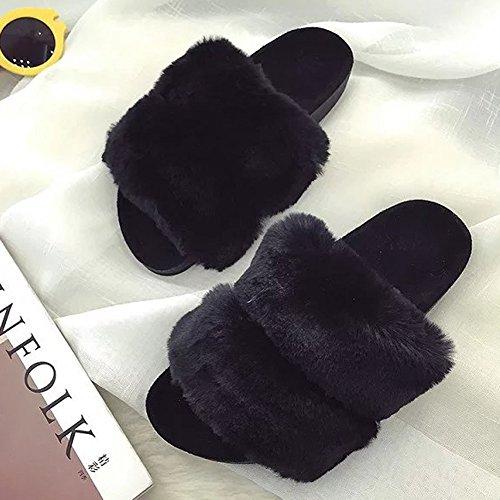 Slippers Black Womens Soft Outdoor Sandals Indoor Mavirs Slippers Fur amp; Slides Flat Slip On Fashion vzvE6fwq