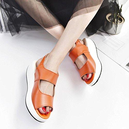 Gioiello Zeppa Eleganti Donna arancione Q Medio Estate Sandali Estive Scarpe Elegant Infradito Romane Beautyjourney Tacco donna Con wCgSqnv