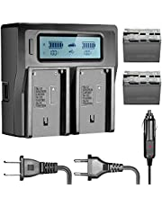 Neewer 6600mAh Li-Ion batteria per Sony NP-F970NP-F970NP-F960np-f975NP-F570NP- F750NP-F770e LCD doppio caricatore, CN160nw75974K 760LED Video torcia Monitor