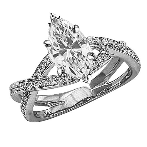 Love Ring Marquise One (0.79 Ctw 14K White Gold Eternity Love Criss Cross Twisting Split Shank Engagement Ring w/ Marquise 0.5 Carat Forever One Moissanite Center)