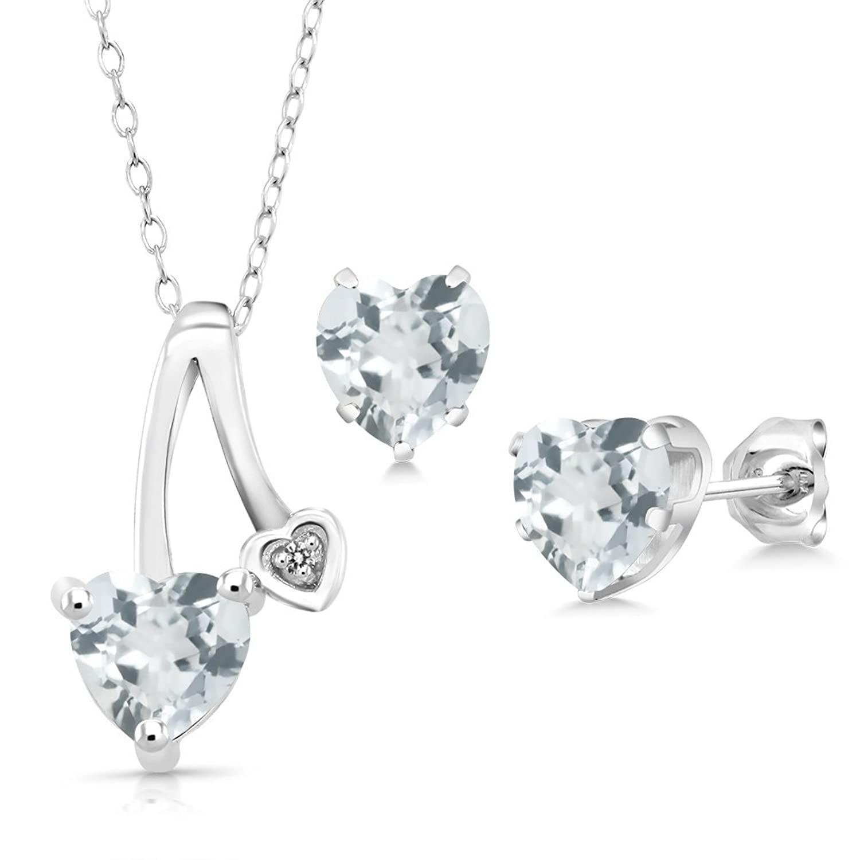 2.02 Ct Sky Blue Aquamarine White Diamond 925 Silver Pendant Earrings Set