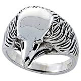 Sterling Silver Eagle Head Ring 3/4 inch wide, size 10.5