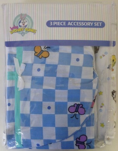(Baby Looney Tunes 3 Piece Garden Party Accessory Set - Crib Skirt, Flannel Receiving Blanket, Diaper Stacker )