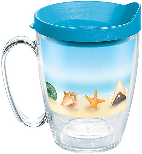 - Tervis 1284939 Shells on the Beach Tumbler with Wrap and Turquoise Lid 16oz Mug, Clear