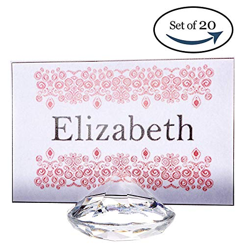 Acrylic Place Card Holders - CLEAR Diamond Table Number & Place Card Holder, Set of 20. Sturdy Acrylic Name Card Holders for Wedding & Party Table Decorations