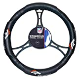 FN 15 X 15 Inches NFL Broncos Steering Wheel Cover, Football Themed Three Sides Team Logo Name Rubber Grip Sports Patterned, Team Logo Fan Merchandise Athletic Team Spirit, Black Orange White, Pvc