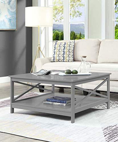 Convenience Concepts 203363GY Oxford Square Coffee Table, 36-inch, Gray,