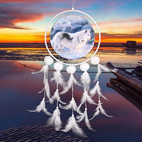 - 1 Pack Wolf Feather Dream Catcher Wind Chimes Ornaments Mini Arts Craft Rainbow Owl Feathers Hanging Bedding Room Apogee Popular Dreamcatcher Girls Bedroom Decor Large Yin Yang Car Wall Catchers Kit