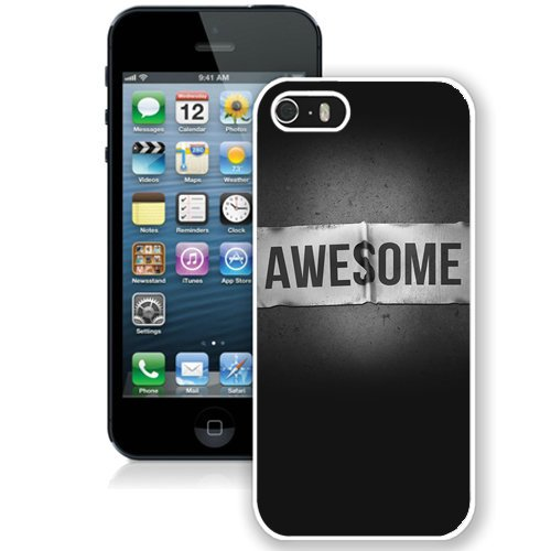 Coque,Fashion Coque iphone 5S Awesome blanc Label Dark Background blanc Screen Cover Case Cover Fashion and Hot Sale Design