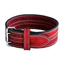 "Ader Leather Power Lifting Weight Belt- 4"" Red (Small)"
