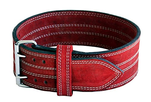 Ader Leather Power Lifting Weight Belt- 4' Red (Medium)