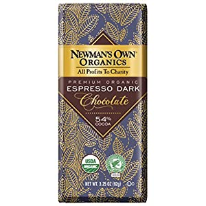 Newman's Own Organics Organic Premium Chocolate Bar, Espresso Dark 54% Cocoa, 3.25-Ounce Bars (Pack of 12)