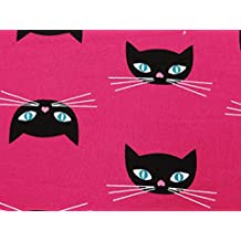 """Pink Cotton Fabric 55"""" Wide Cat Printed Sewing Crafting Material By The Yard"""