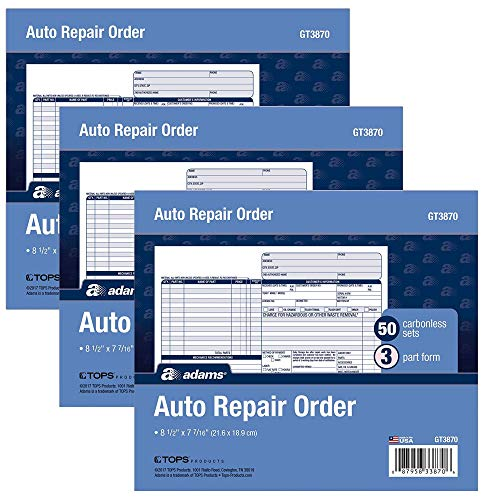 (Adams Auto Repair Order Forms, 8.5 x 7.44 Inch, 3-Part, Carbonless, 50-Pack, White and Canary (GT3870) - 3 Pack)