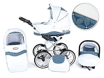 Cochecito de tres piezas Romantic Eco Piel - Blanco Hojas Azul -ECO3: Amazon.es: Bebé