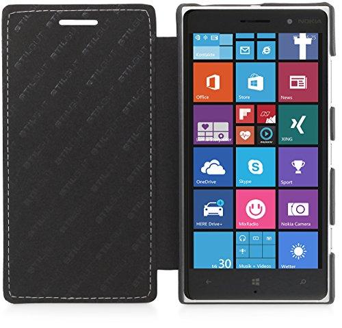 StilGut® UltraSlim, Book Type Leather Case for Nokia Lumia 830, Black Nappa