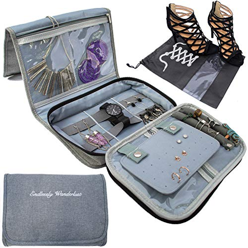Travel Jewelry Organizer Carrying Case - PLUS Shoe Bags. Hanging Holder and Storage For Accessories by Endlessly Wanderlust