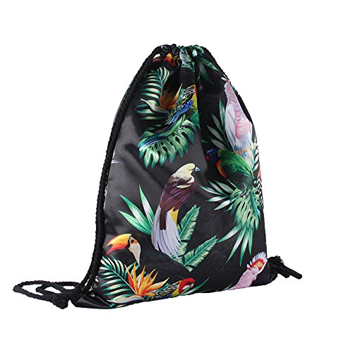 Price comparison product image Drawstring Backpack Waterproof Cinch Sack Lightweight Silk Gym Sackpack Backpack Quick-dried for Men Women Kids (Bird)