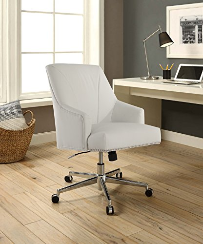 Serta Style Leighton Home Office Chair, Clean White Bonded Leather (Chair White Fabric Office)