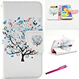 Galaxy S5 Case, Firefish [Kickstand] [Bumper] Case Flip PU Leather Wallet with Card Slot Magnetic Closure Protection phone case for Samsung Galaxy S5 - Tree