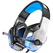 BENGOO V-4 Gaming Headset for Xbox One, PS4, PC, Controller, Noise Cancelling Over Ear Headphones with Mic, LED Light Bass Surround Soft Memory Earmuffs for Computer Laptop Mac Nintendo Switch Games