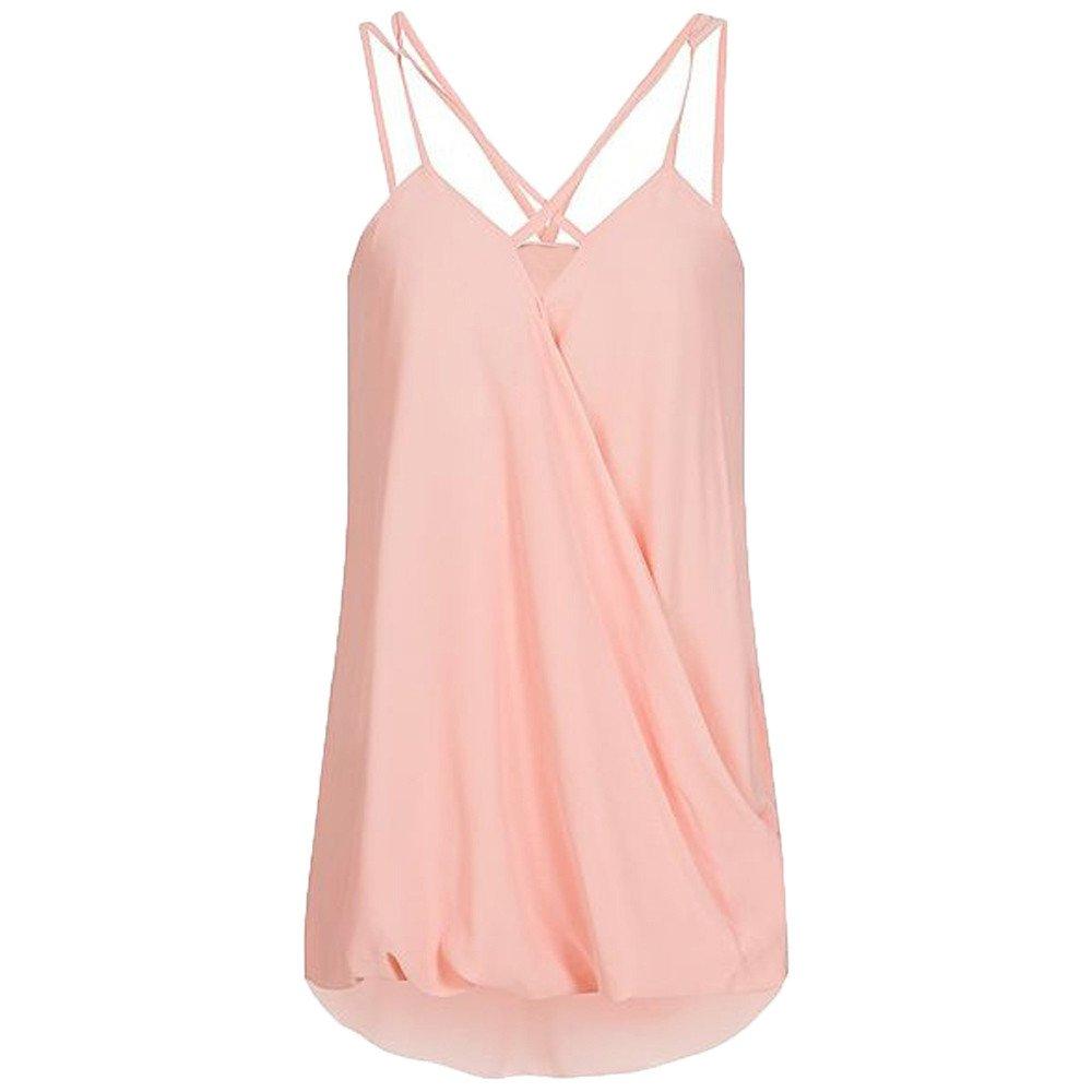 Dunacifa Women Tank Top Fashion Women Summer Wrap Cross Sleeveless Chiffon Casual Sling Tank Top Blouses Pink