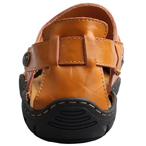 Skoex Hombres Fisherman Sandalia Cuero Casual Zapato Deportivo Al Aire Libre Amarillo