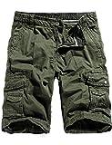 Image of WenVen Men's Cotton Twill Cargo Shorts Outdoor Wear Lightweight (No.4 Army Green, 36)