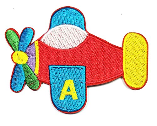 Red Airplane Rocket Plane Iron on Patch Cartoon Kids Applique Embroidered Sew Iron on Patch Pants Jacket Polo T- Shirt Hat ()