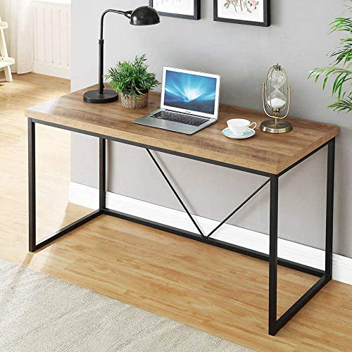 FOLUBAN Rustic Industrial Computer Desk,Wood and Metal Writing Desk, Vintage PC Table for Home Office, Oak 47 inch (Industrial Computer Desk)