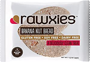 Rawxies Nutritious Gourmet Cookie Snack Bars, Banana Nut Bread, Gluten Free, Vegan, Box of 12 Healthy Cookies