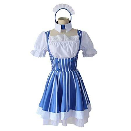 YKJ Disfraz de Cosplay de Anime Vestido de Rayas Blancas Azules ...