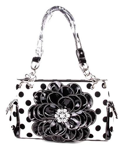 DH Polka Dot Bling Rhinestone Flower Western Purse Shoulder Bag Jp Black White (Polka Dot Purse Handbag)