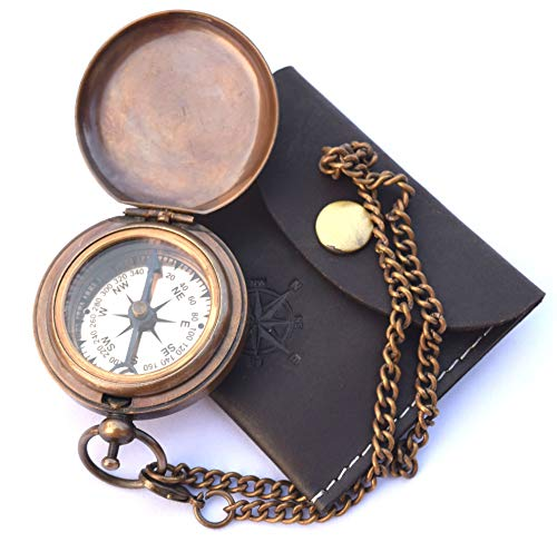 (NEOVIVID Handmade Brass Push Open Compass On Chain with Leather Case, Pocket Compass, Gift Compass)