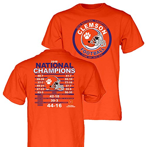 (Blue 84 Clemson Tigers 3-Time 2018-2019 Football National Champions SS T-Shirt (XL))