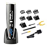 Hatteker Dog Clippers Pet Clippers Professional Hair Clippers Trimmer Pet Grooming Trimming Kit with Nail Clippers and Nail File Pet suppliers for Dogs Cats Thick Coats Cordless with Low Noise