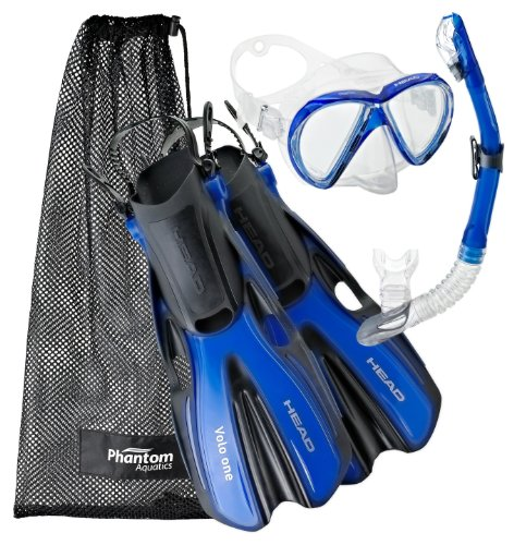 Head by Mares Mask Fin Dry Snorkel Set, Blue - Small