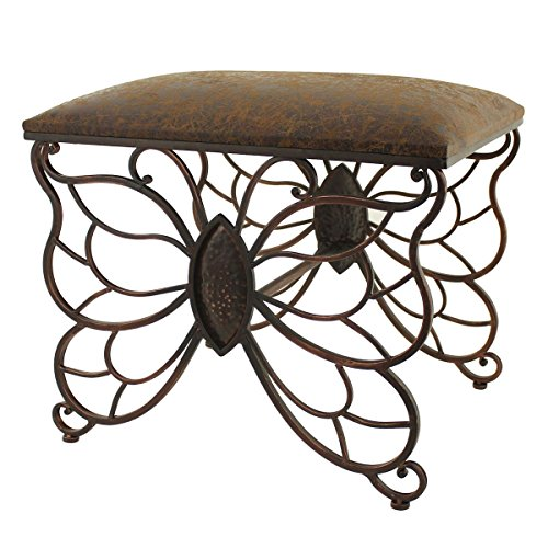Metal Butterfly Vanity Stool - Makeup Bench with Upholste...