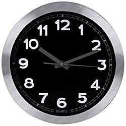 Decorative 12-Inch Black Wall Clock (Aluminum) - Non-Ticking, Silent Sweep Function - Black Dial with White Numbers & Silver Hands – Battery Operated - by Utopia Home