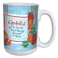 Tree-Free Greetings lm43465 Wintry Mittens and Gratitude by Robin Pickens Ceramic Mug with Full-Sized Handle, 15-Ounce