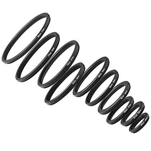 Neewer 10 Pieces Anodized Black Metal Step-Down Adapter Ring Set Including 82-77mm, 77-72mm, 72-67mm, 67-62mm, 62-55mm, 55-52mm, 52-43mm, 43-37mm, 37-30mm, 30-26mm by Neewer
