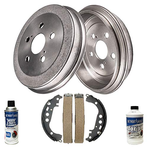 Detroit Axle - Pair (2) Rear Brake Drums w/Ceramic Brake Shoes w/Hardware & Brake Cleaner & Fluid for 2000 2001 2002 2003 2004 2005 Toyota Celica ()
